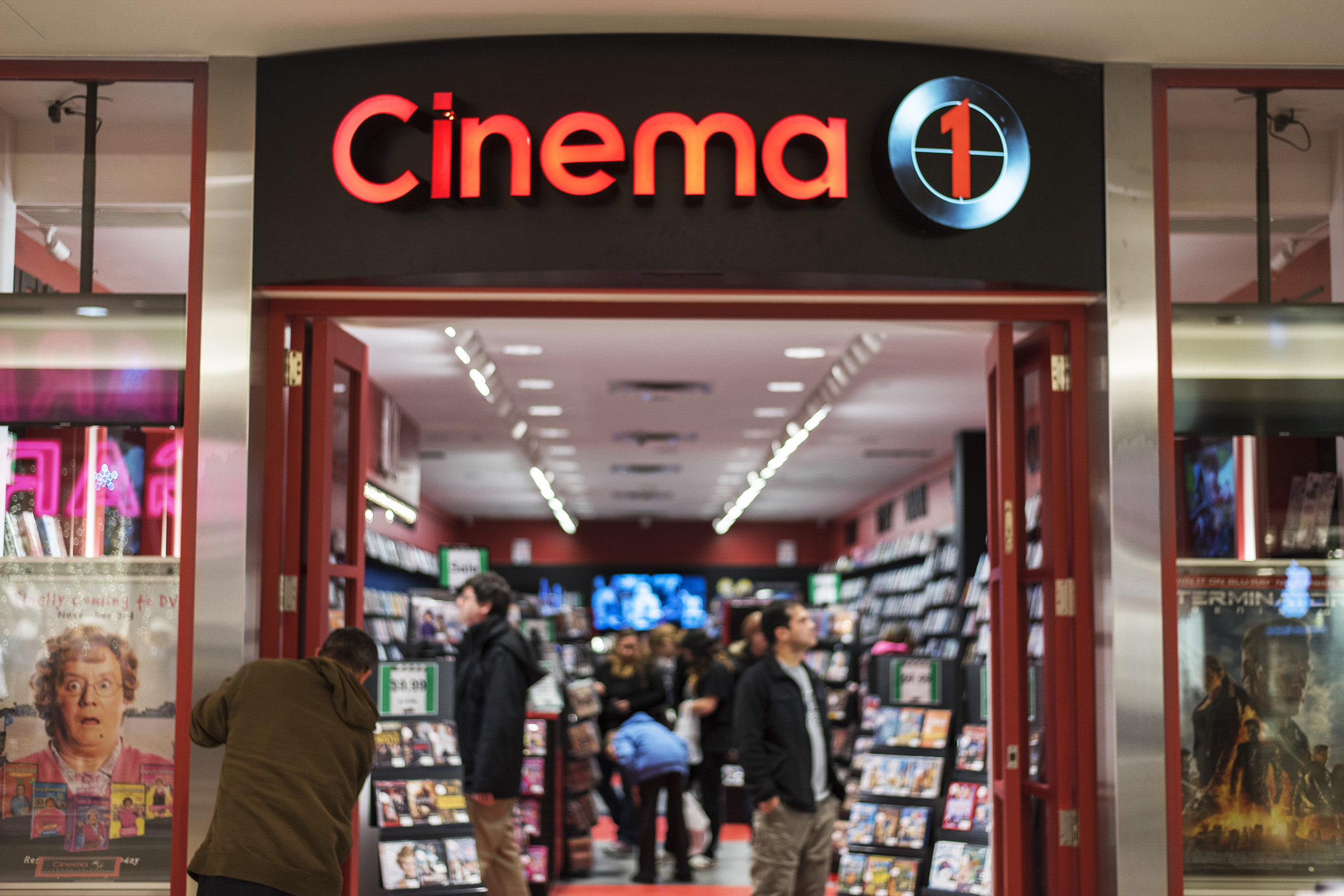 Cinema 1 storefront in Stone Road Mall, Guelph, ON
